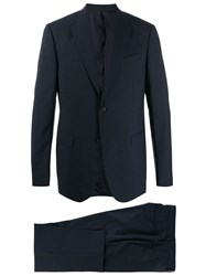 Z Zegna Fitted Two Piece Suit Blue