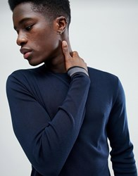 Selected Homme Knitted Jumper With Cuff Stripe Dark Sapphire Black