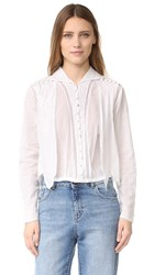 Intropia Eyelet Button Down Blouse White