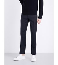 Sandro Checked Tailored Fit Wool Trousers Navy Blue