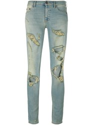 Off White Distressed Skinny Jeans Blue