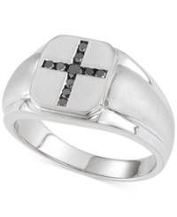 Macy's Men's Black Diamond Cross Ring 1 4 Ct. T.W. In Sterling Silver