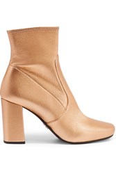 Prada Metallic Textured Leather Ankle Boots Gold