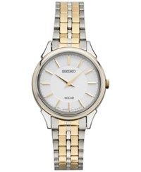 Seiko Women's Solar Slimline Two Tone Stainless Steel Bracelet Watch 27Mm Sup344 Two Tone