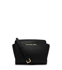 Michael Kors Selma Saffiano Leather Mini Messenger Black