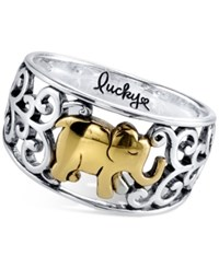 Unwritten Lucky Elephant Ring In Sterling Silver And Gold Flashed Sterling Silver