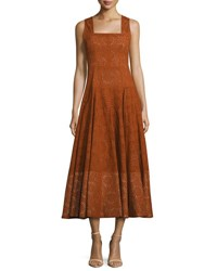 Derek Lam Sleeveless Eyelet Midi Dress Orange