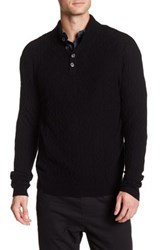 Quinn Cable Button Mock Neck Pullover Sweater Black