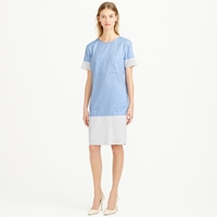 J.Crew Collection Poplin Shift Dress With Perforated Faux Leather