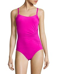 Calvin Klein Side Ruched One Piece Swimsuit Pink
