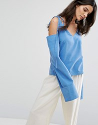 House Of Sunny Cold Shoulder Top With Tie Details Blue