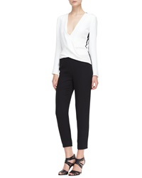 J. Mendel Long Sleeve Silk Jumpsuit Ivory Noir