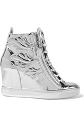Giuseppe Zanotti Metallic Glossed Leather Wedge Sneakers Silver
