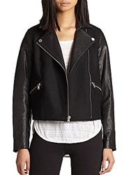 Marc By Marc Jacobs Karlie Leather And Wool Jacket Black