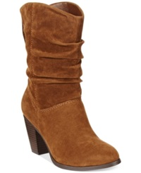 Rampage Trixen Scrunch Booties Women's Shoes Cognac Suede
