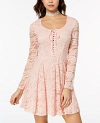 B. Darlin B Juniors' Lace Fit And Flare Dress Blush