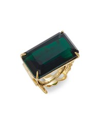 Kate Spade Baguette Crystal Cocktail Ring Green