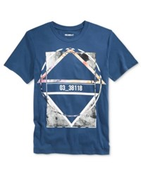 William Rast Men's Graphic Print T Shirt Blue Opal