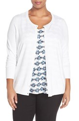 Plus Size Women's Sejour Crewneck Cardigan White