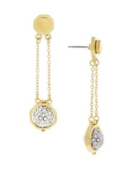 Louise Et Cie Gold And Brass Pave Ball Swing Drop Earrings