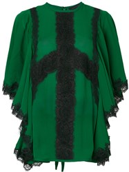 Elie Saab Lace Insert Blouse Silk Cotton Polyester Rayon Green