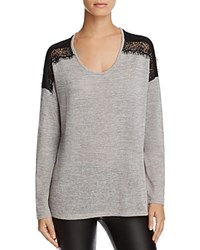 Love Scarlett Lace Shoulder Spade Dye Pullover 100 Bloomingdale's Exclusive Heather Grey