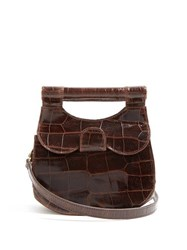 Staud Madeline Crocodile Effect Leather Bag Dark Brown