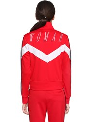 Off White Woman Embroidered Zip Up Track Jacket Red White