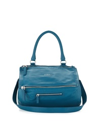 Pandora Medium Leather Satchel Bag Oil Blue Givenchy