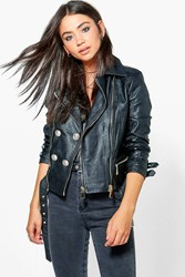 Boohoo Belted Button Faux Leather Jacket Black