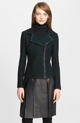 St. John Leather Trim Knit Moto Jacket Caviar Emerald Multi