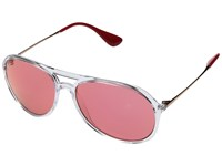 Ray Ban 0Rb4201 59Mm Shiny Transparent Pink Mirror Red Fashion Sunglasses