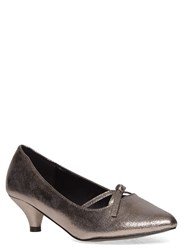 Evans Extra Wide Fit Silver Shimmer Bow Kitten Heel Silver Metallic