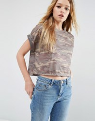 Asos Cropped T Shirt In Camo Print Multi