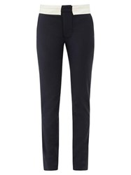 Tibi Beatle Contrast Waist Wool Blend Trousers Navy White