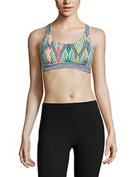 Trina Turk Recreation Printed Crossback Sports Bra Neon Lights