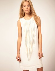 Mango Neck Fringe Detail Dress White
