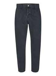 Topman Grey Twill Cotton Cropped Tapered Fit Trousers