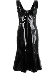Natasha Zinko Corset Patent Leather Midi Dress Black