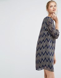 Y.A.S Venya Loose Dress Navy Multi