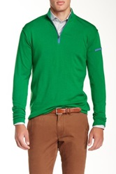 Peter Millar Ballard Merino Wool Quart Zip Sweater Green