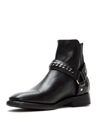 Frye Weston Chain Harness Leather Boots Black