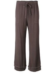 Raquel Allegra Crepe Drawstring Cropped Pants Brown