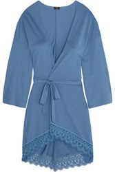 Cosabella Edith Guipure Lace Trimmed Pima Cotton And Modal Blend Robe Blue