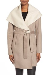 Women's Elie Tahari 'Mala' Hooded Wool Blend Wrap Coat