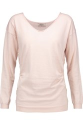 Nina Ricci Lace Trimmed Cotton Silk And Cashmere Blend Sweater Blush