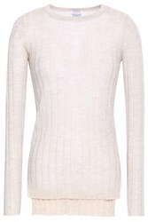 Madeleine Thompson Ribbed Wool And Cashmere Blend Sweater Beige