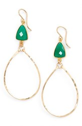 Women's Sonyarenee 'Mindee' Semiprecious Stone Drop Hoop Earrings Green Onyx