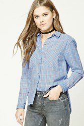 Forever 21 Dolphin Hem Flannel Plaid Shirt Baby Blue Coral