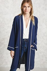 Forever 21 Contemporary Satin Cardigan Navy White
